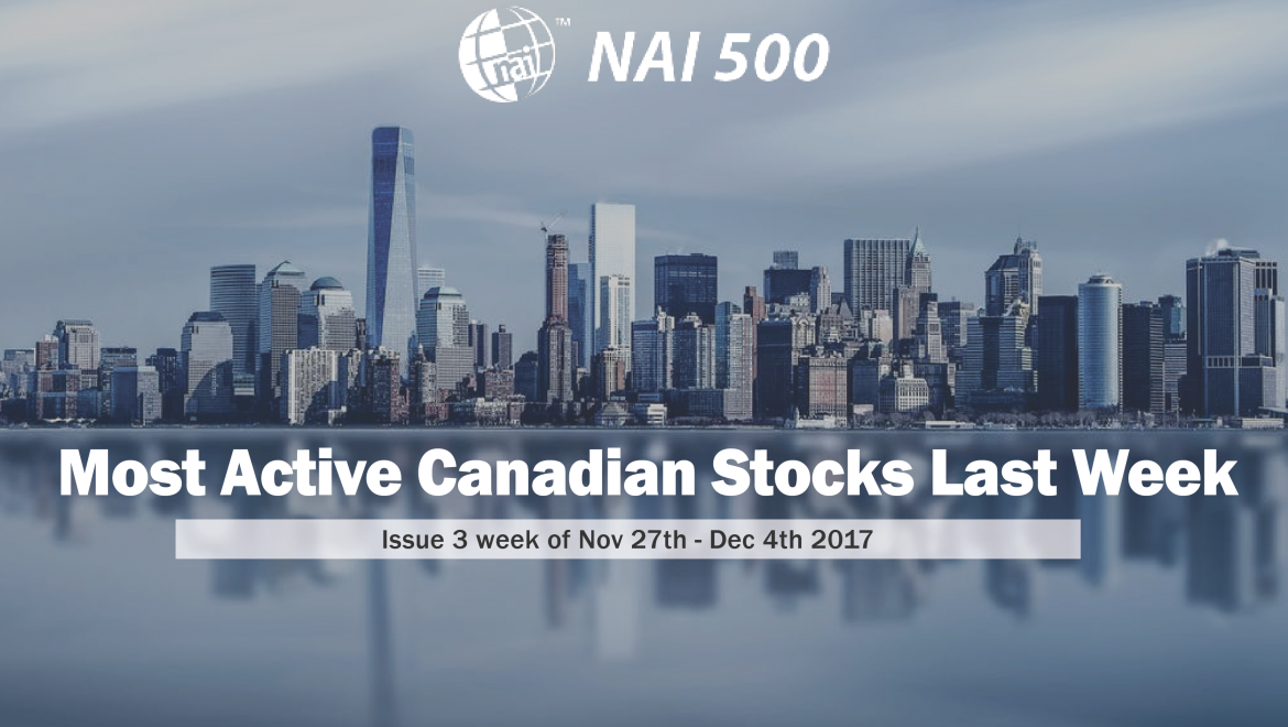Most Active Canadian Stocks Last Week – Issue 3 week of Nov 27th- Dec 4th 2017