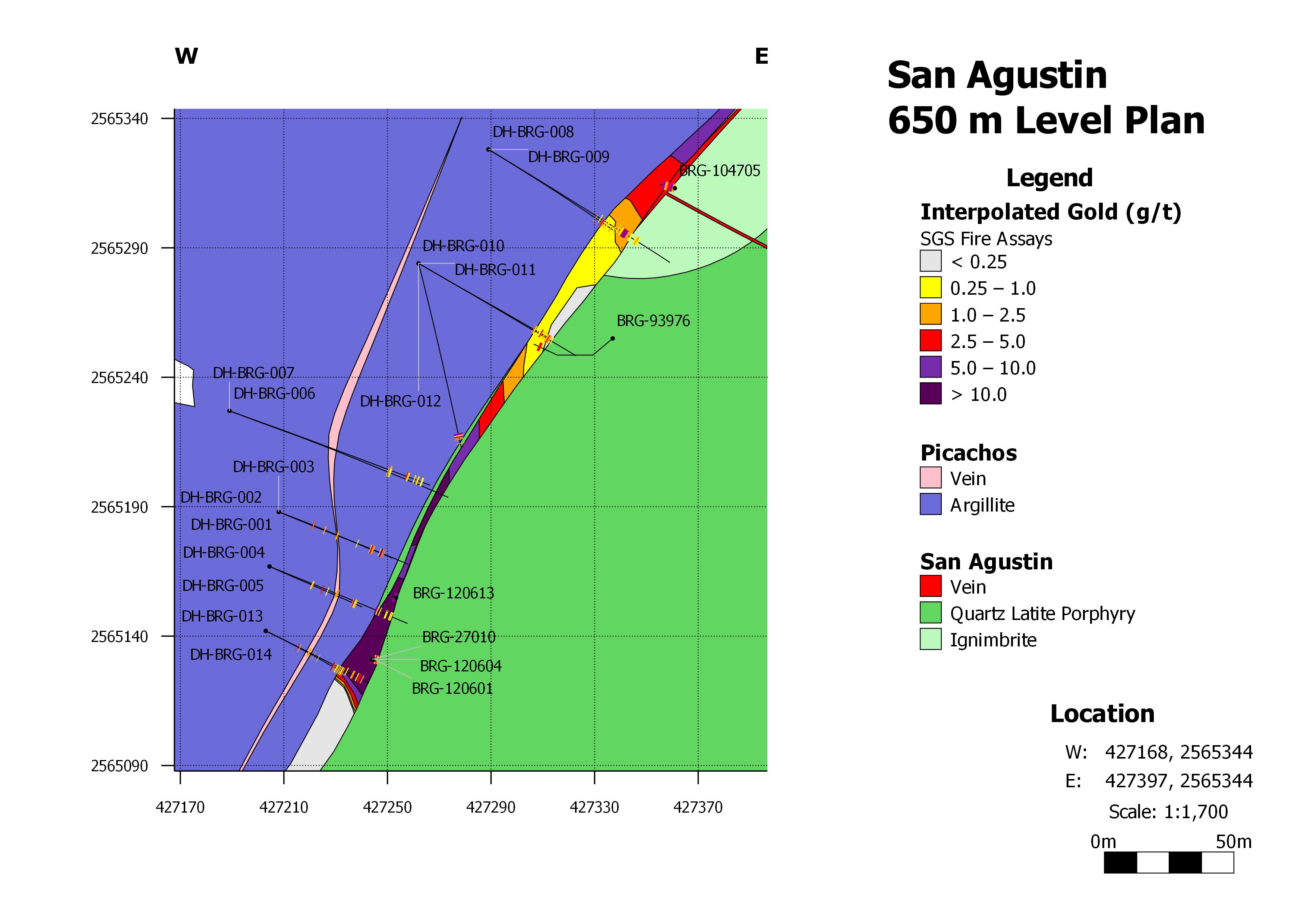Brigadier San Agustín矿脉平面图